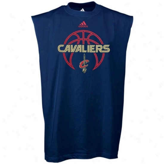 Cleveland Cavs Tshirt : Adidas Cleveland Cavs Navy Blue Total Game Sleeveless Tshirt