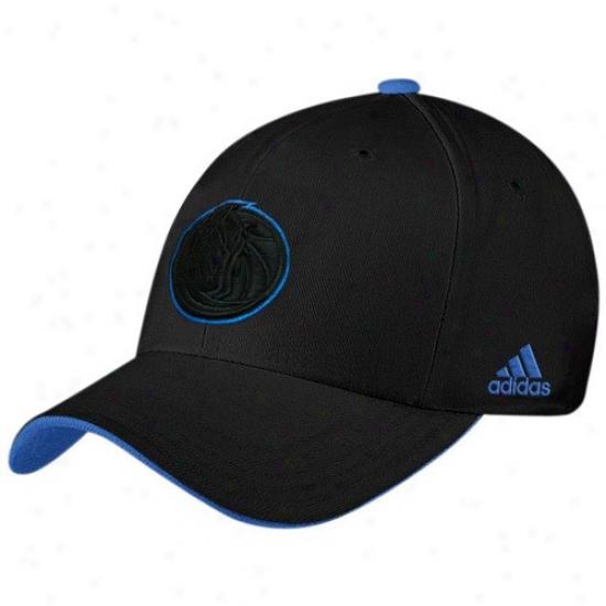 Dallas Mav Gear: Adidas Dallas Mav Black Tonal Flex Fit Hat