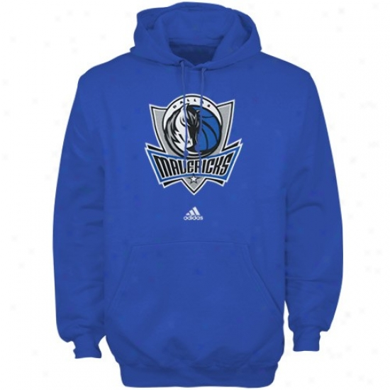 Dallas Mav Stuff: Adidas Dallas Mav Royal Blue Full Primary Logo Hoody Sweatshirt