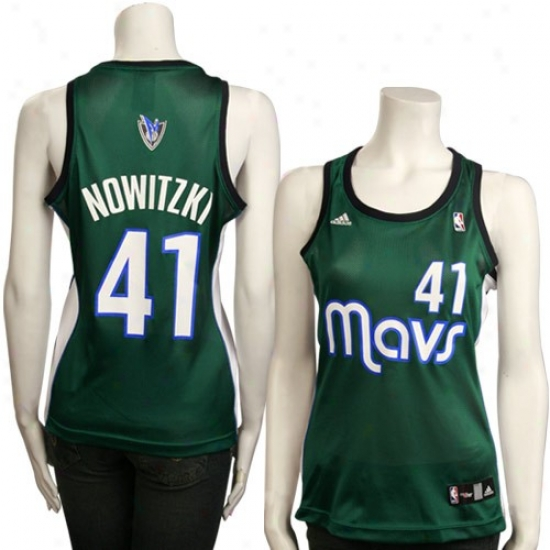 aDllas Maverick Jerseys : Adidas Dallas Maverick #41 Dirk Nowitzki Green Ladies Replica Basketball Jerseys