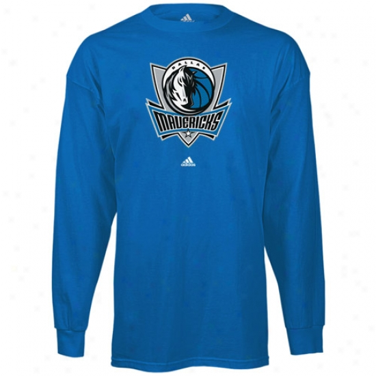Dallas Maverick T Shirt : Adidas Dallas Maverick Blue Prime Logo Long Sleeve T Shirt