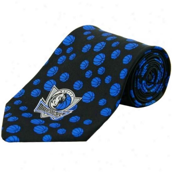 Dallas Mavericks Black Bazketball Print Silk Neck Tie