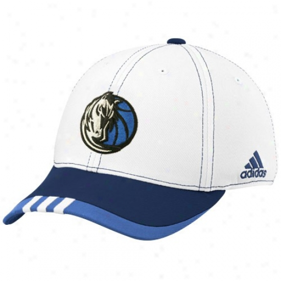 Dallas Mavericks Cap : Adidas Dallas Mavericks White On Court Flex Fit Cap