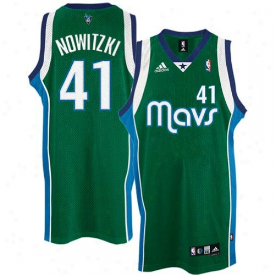 Dallas Mavericks Jersey : Adidas Dallas Mavericks #41 Dirk Nowitzki Young men Green Alternate Swingman Basketball Jersey