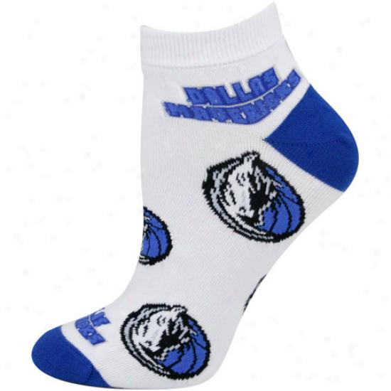 Dallas Mavericks Ladies White All Over Team Logo Ankle Socks