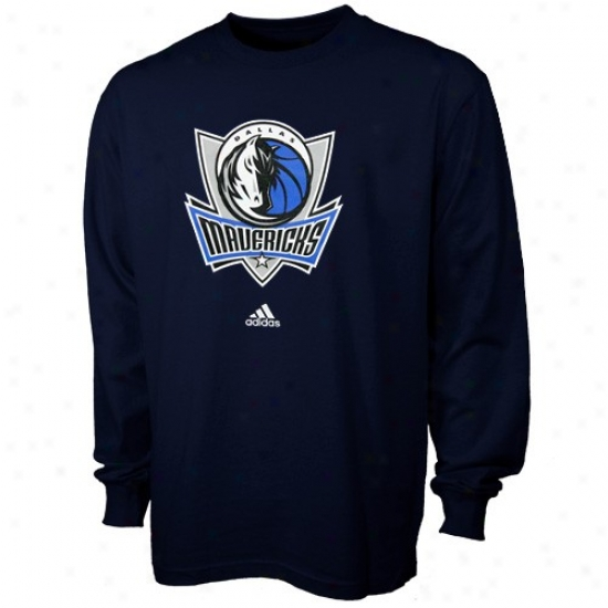 Dallas Mavericks Shirts : Adidas Dallas Maverocks Boy Navy Blue Full Primary Logo Loong Sleeve Shirts
