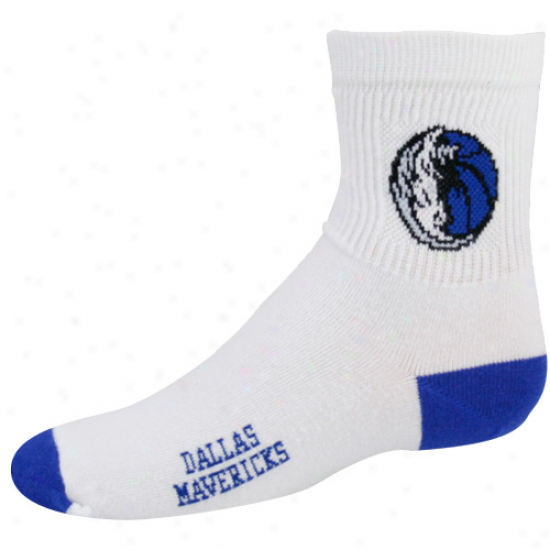 Dallas Mavericks Youth White Team Logo Crew Socks