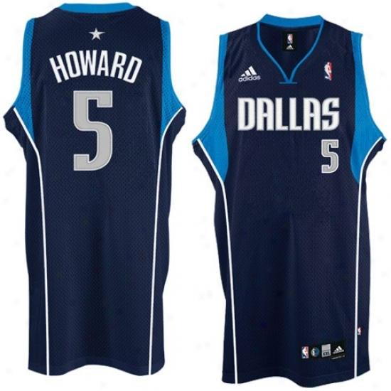 Dallas Mavs Jersey : Adidas Dallas Mavs #5 Josh Howard Navy Blue Road Swingman Bssketball Jersey