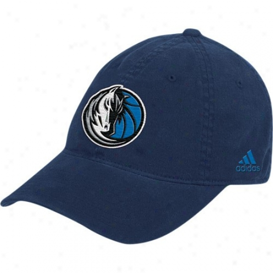 Dallas Mavs Merchandise: Adidas Dallas Mavs Navy Blue Basic Logo Slouch Flex Fit Hat