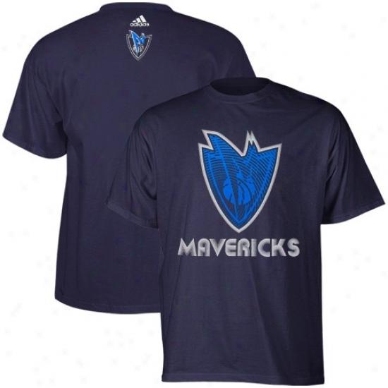 Dallas Mavs Shirt : Adidas Dallas Mavs Navy Blue Sonic Boom Shirt