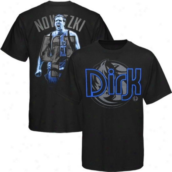 Dallas Mavs Tee : Dallss Mavs #41 Dirk Nowitzki Black Notorious Tee