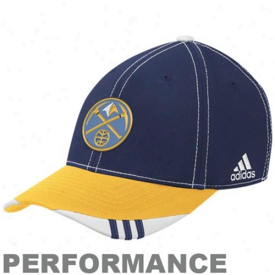 Denver Nugget Gear: Adidas Denver Nugget Navy Blue-gold Official On Court Composition Flex Fit Hat