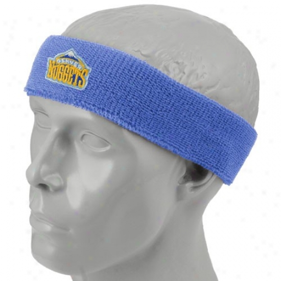 Denver Nugget Hats : Denver Nugget Light Blue Team Logo Headband