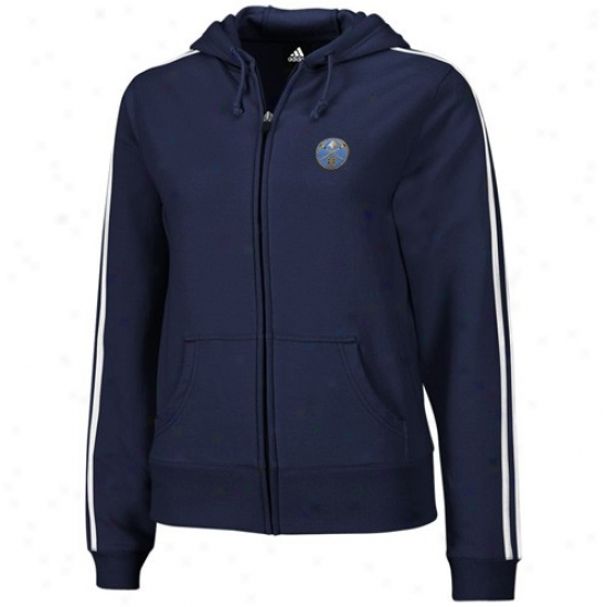 Denver Nugget Jacket : Adidas Denver Nugget Ladies Navy Blue Stretch Fleece Full Zip Hoody Jacket