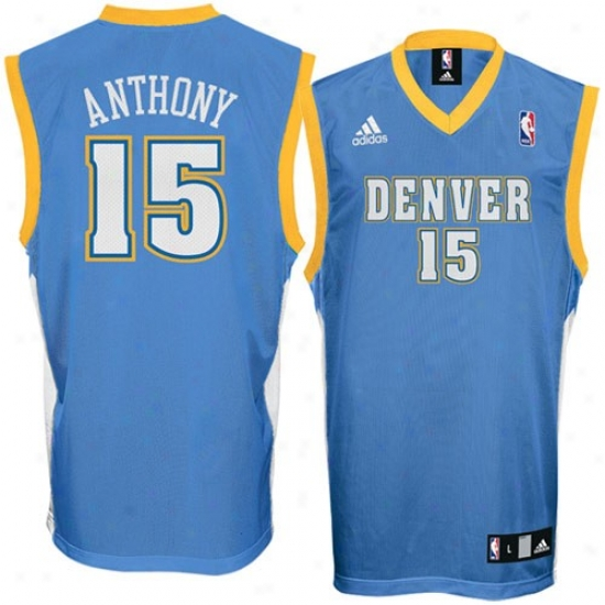 Denver Nugget J3rsey : Adidas Denvver Nugget #15 Carmelo Anthony Light Blue Replica Basketball Jersey