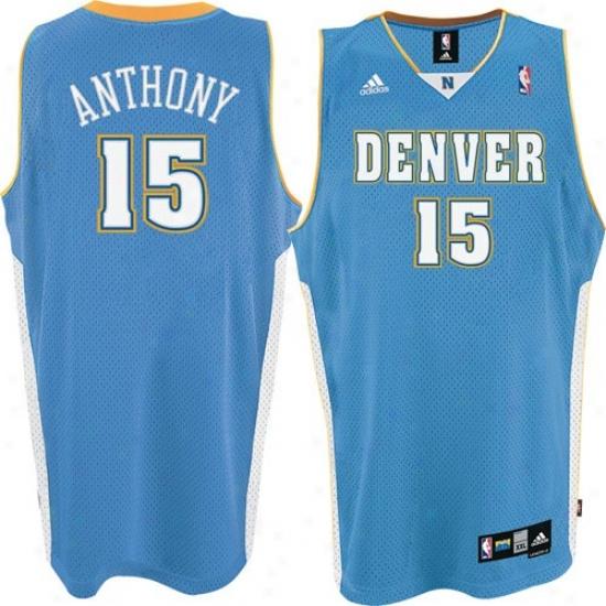 Denver Lump Jersey : Adidas Denver Nugget #15 Carmelo Anthony Light Blue Road Swingman Bsketball Jersey