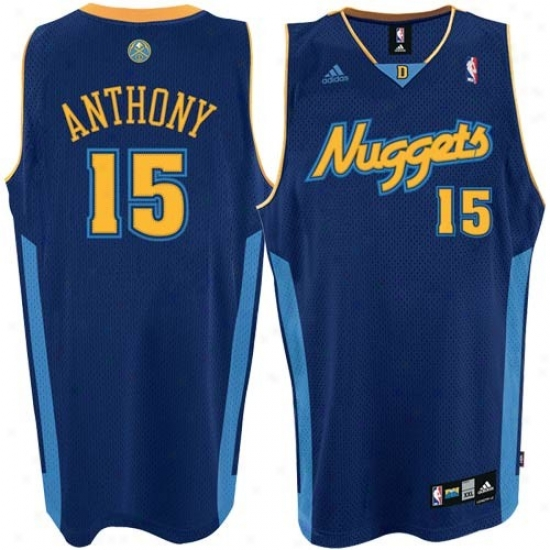 Denver Nugget Jersey : Adidas Denver Lump #15 Carmelo Anthony Navy Blue 2nd Road Swingamn Basketall Jersey