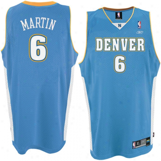 Denver Nugget Jersey : Reebok Denver Lump #6 Kenyon Martin Powder Blue Swingman Jersey