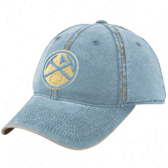 Denver Nugget Merchandise: Adidas Denver Nugget Unencumbered Blue Distressed Flex Fit Hat