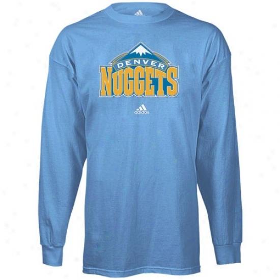 Denver Nugget Shirts : Adidas Denver Nugget Light Blue Prima5y Logo Long Sleve Shirts