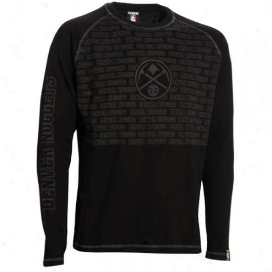 Denver Nugget T-shirt : Denver Nugget Black The Fadeaway Long Sleeve Thermal T-shirt