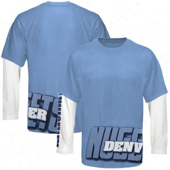 Denver Nugget T Shirt : Denver Lump Unencumbered Blue Two Fold Double Layer Long Sleeve T Shirt