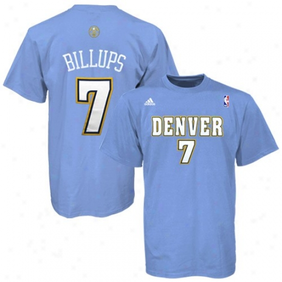 Denver Nugget Tshirts : Adidas Denver Nugget #7 ChaunceyB illups Light Blue Net Player Tshirts