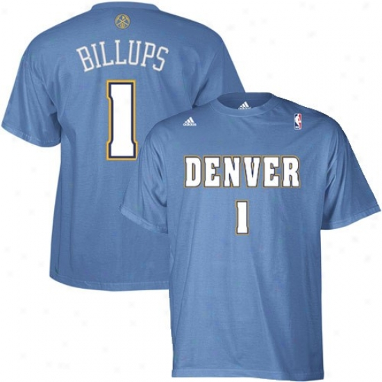 Denver Nuggets Attire: Adidas Denver Nuggets #1 Chauncey Billups Light Blue Player T-shirt