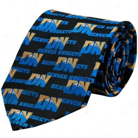 Dwnver Nuggets Black All-over Logo Print Silk Neck Tie
