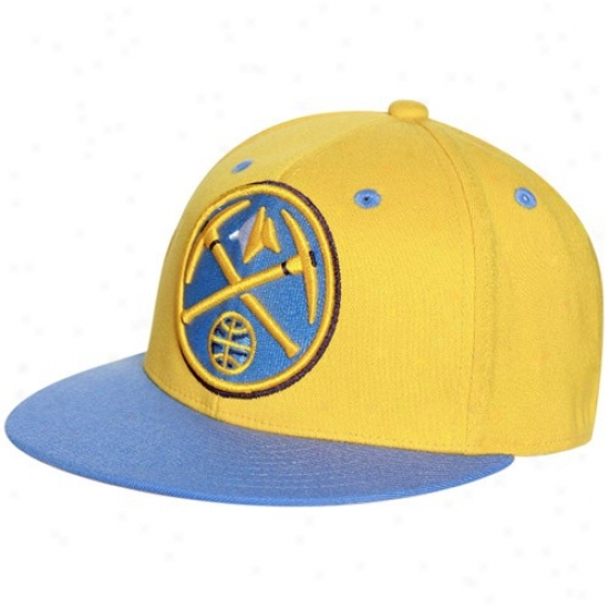 Denver Nuggets Caps : Adidas Denver Nuggets Gold-light Blue 210 Fitted Flexfit Flat Brim Caps