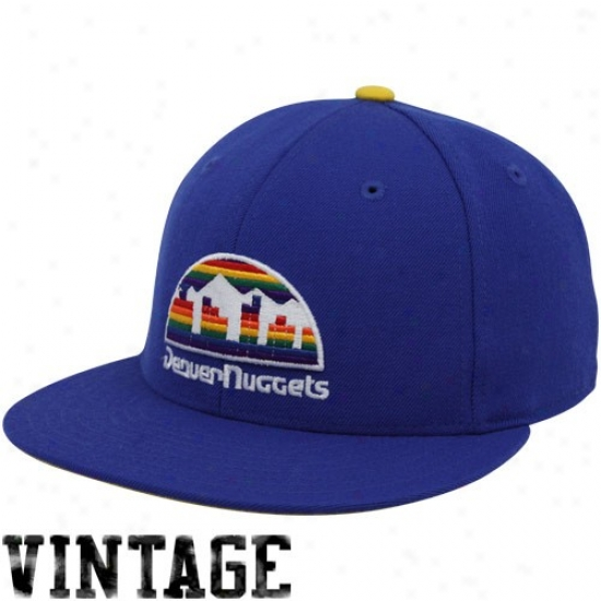 Denver Nuggets Geaar: Mithchell & Ness Denver Nuggets Royal Blue Vintage Logo Fitted Hat