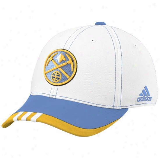 Denver Nuggets Hats : Adidas Denver Nuggdts White On Woo Flex Fit Hats