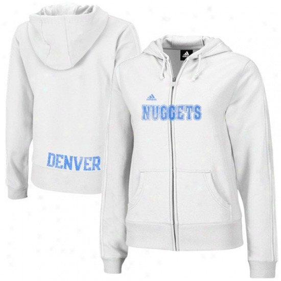 Denver Nuggets Hiody : Adidas Denver Nuggets Ladies White Tail End Full Zip Hoody