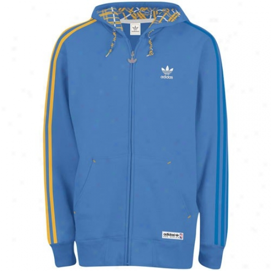 Denver Nuggets Hoodys : Adidas Denver Nuggets Light Blue Full Zip Hooded Hoodys