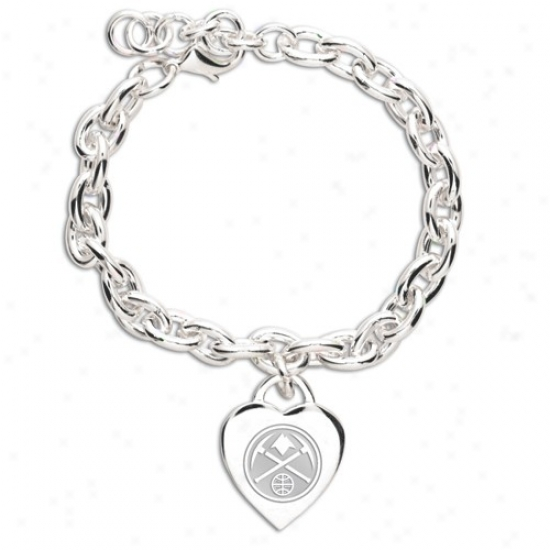 Denver Nuggets Ladies Silver Heart Charm Bracelet