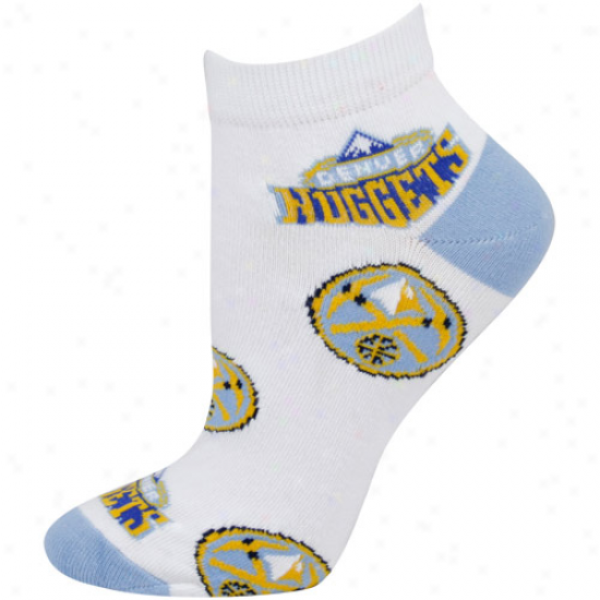Denver Nuggets Ladies White All Over Team Logo Ankle Socks