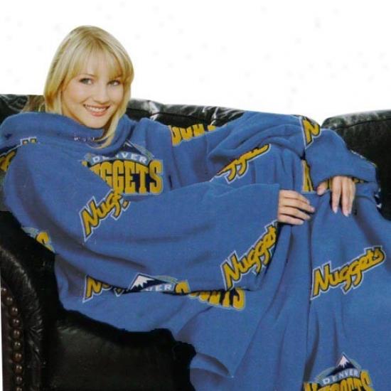 Denver Nuggets Light Blue Team Logo Print Unisex Comfy Throw
