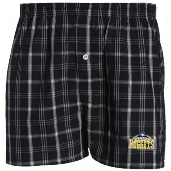 Denver Nuggets Navy Azure Plaid Genuine Boxer Shorts