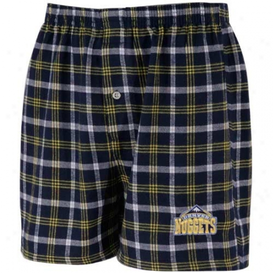 Denver NubgetsN avy Blue Plaid Tailgate Boxer Shorts
