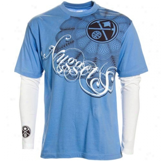 Denver Nuggets Tee : Denver Nuggets Light Blue Double Dsuce Double Layer Tee