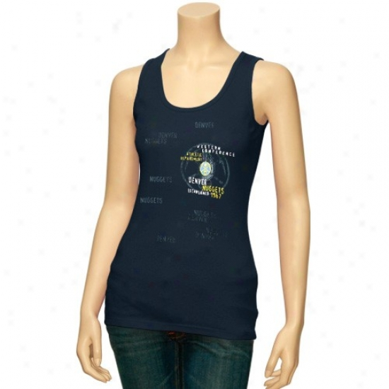 Denver Nuggets Tees : Denver Nuggets Ladies Navy Blue Side Logo Tank Toop