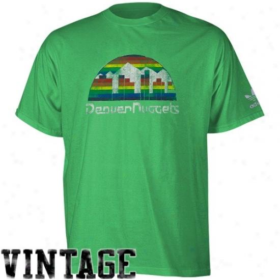 Denver Nuggets Tshirt : Adidas Denver Nugegts Green Retro Logo Premium Tshirt