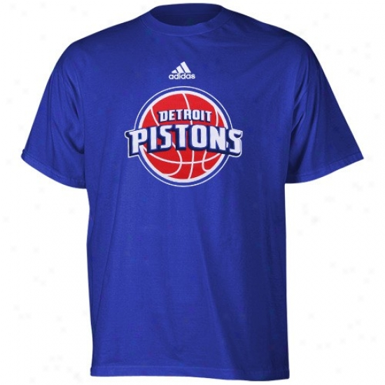 Detroit Piston Attire: Adidas Detroit Piston Youth Royal Blue Primary Logo T-ahirt