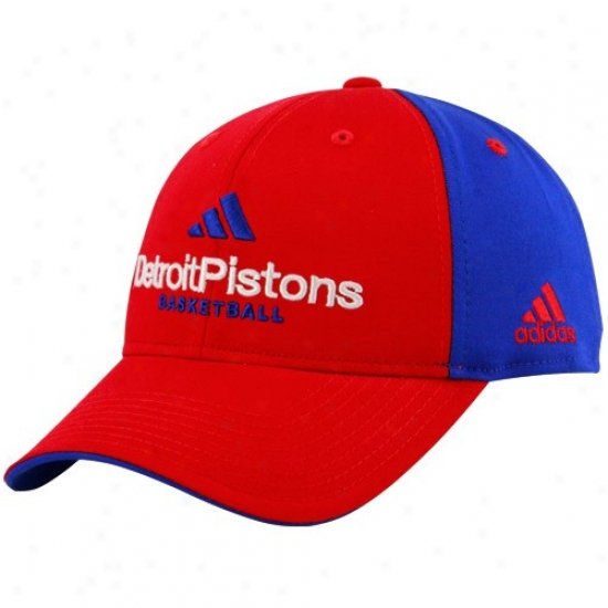 Detroit Piston Caps : Adidas Detroit Piston Red-royal Blue Multi Team Color Strucured Caps