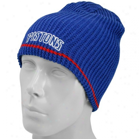 Detroit Piston Caps : Adidass Detroit Piston Royal Blue-red Striped Reversible Knit Beanie
