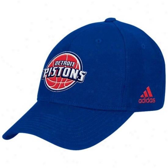 Detroit Piston Caps : Adidas Detroit Piston Royal Melancholy Basic Logo Wool Caps