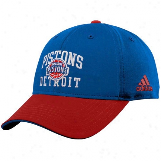 Detroit Piston Gear: Adidas Detroit Piston Royal Blue-red Pro Structured Adjustable Hta