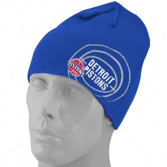 Detroit Piston Gear: Adidas Detroit Piton Royal Blue Double Logo Knit Beanie