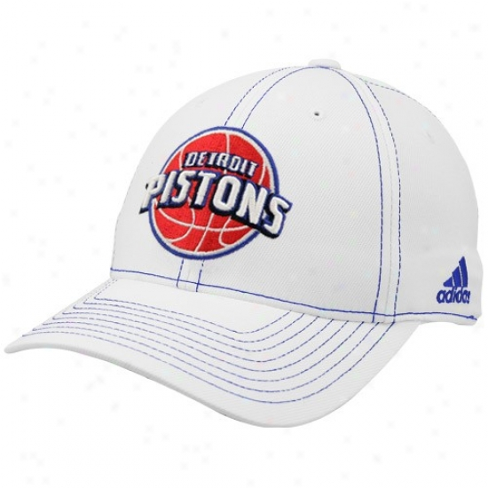 Detroit Piston Gear: Adidas Detroit Piston White Team Logo 1-fit Structured Flex-fit Hat