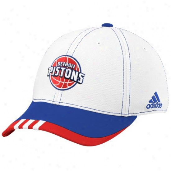 Detroit Piston Hat : Adidas Detroit Piston White On Court Flex Fit Hat
